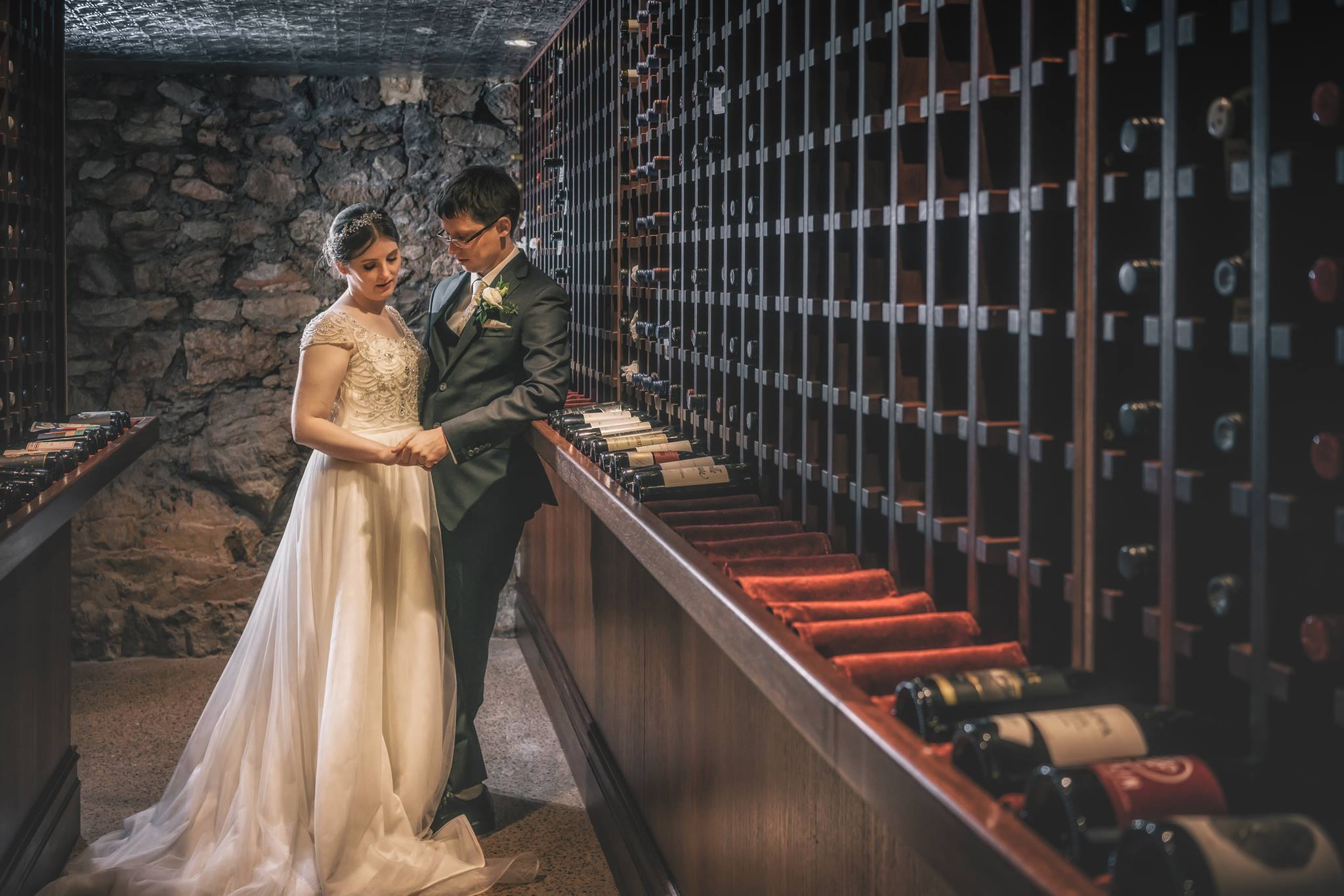 The Winter wedding of Adrian and Bethany in the wine cellar of Mount Lofty House.