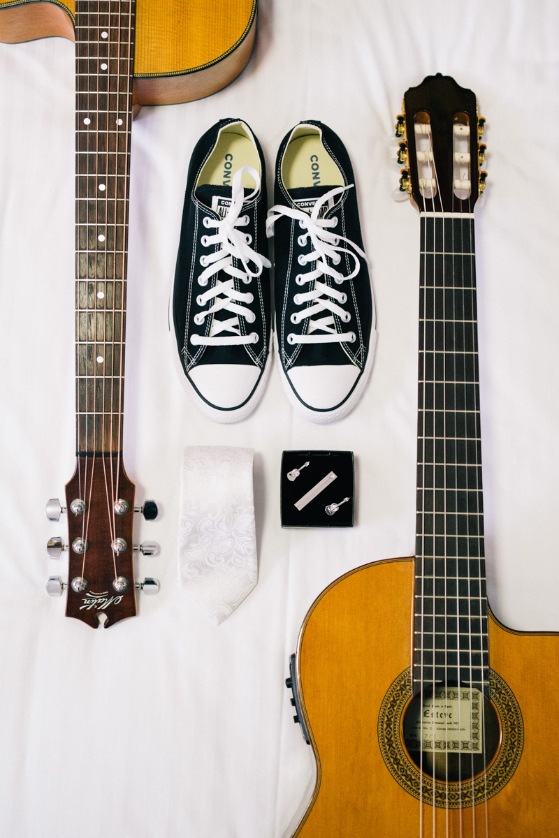 Grooms Wedding shoes and guitars at Barossa Chateau