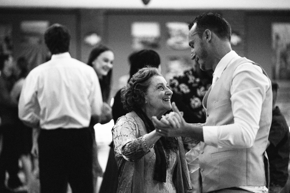 Groom Dancing with Grandmother at serafino wines
