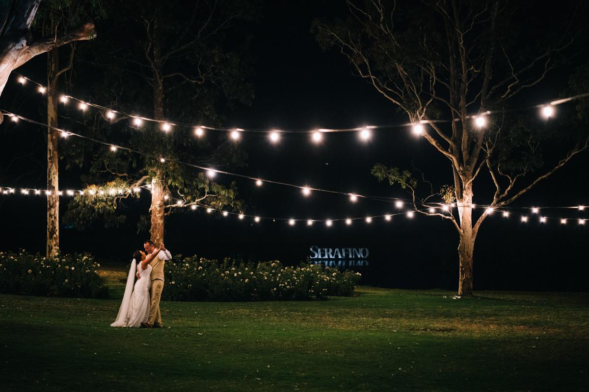Dancing under lights at serafino wines