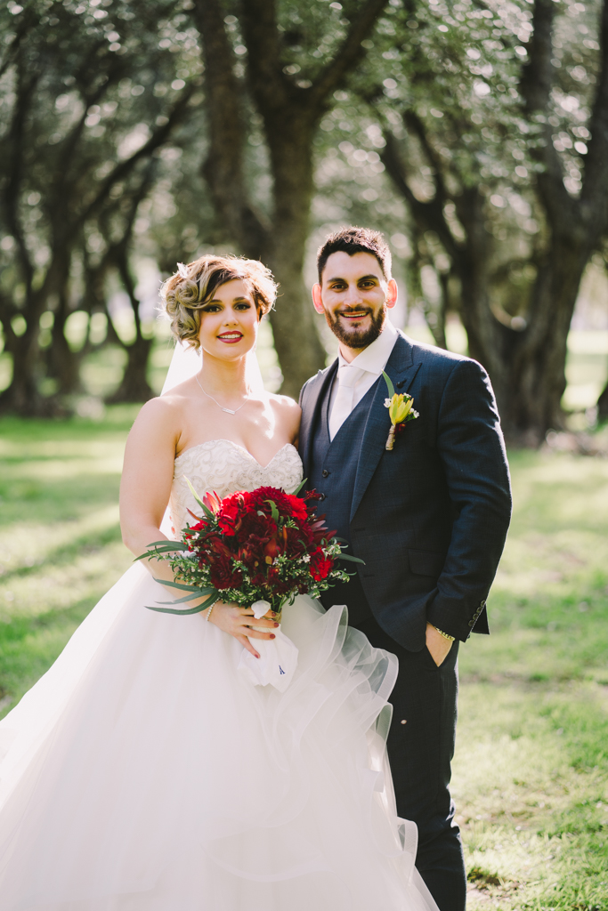 Bride & Groom Portrait in Olive Grove