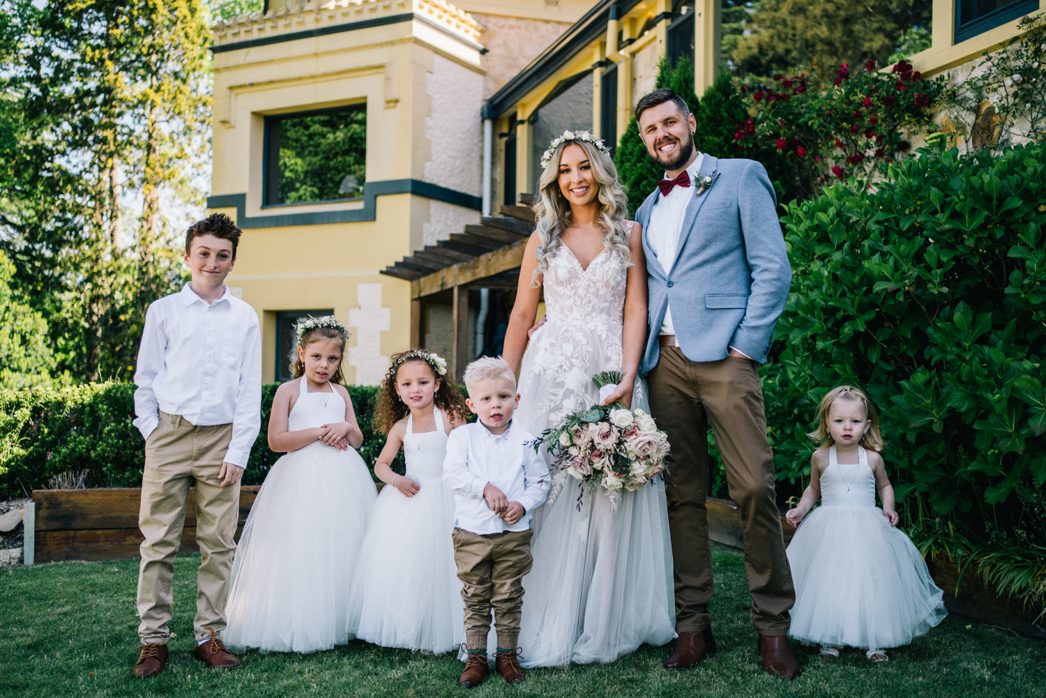 bride and groom family portrait