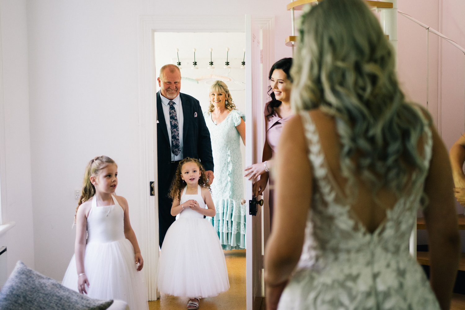 Father of the brides see's bride