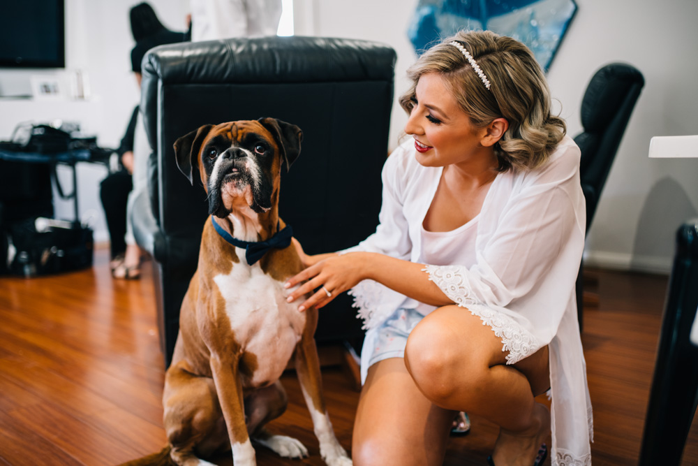 Bride to be with Boxer Dog