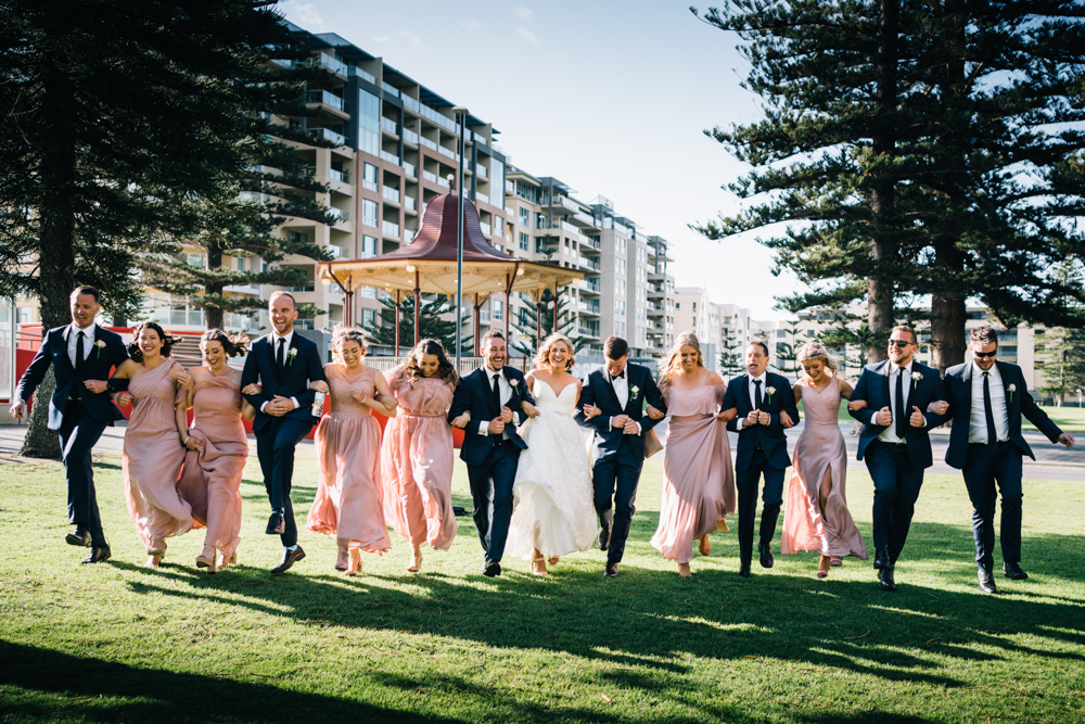 bridal party skipping in glenelg