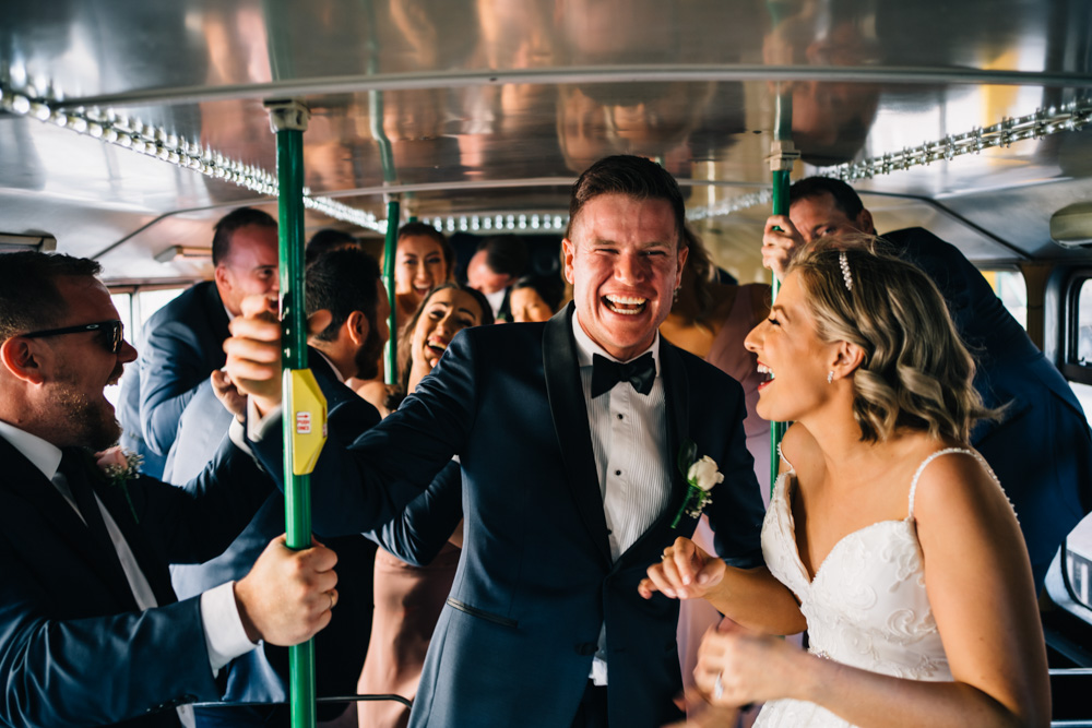 bridal party singing on big night out bus