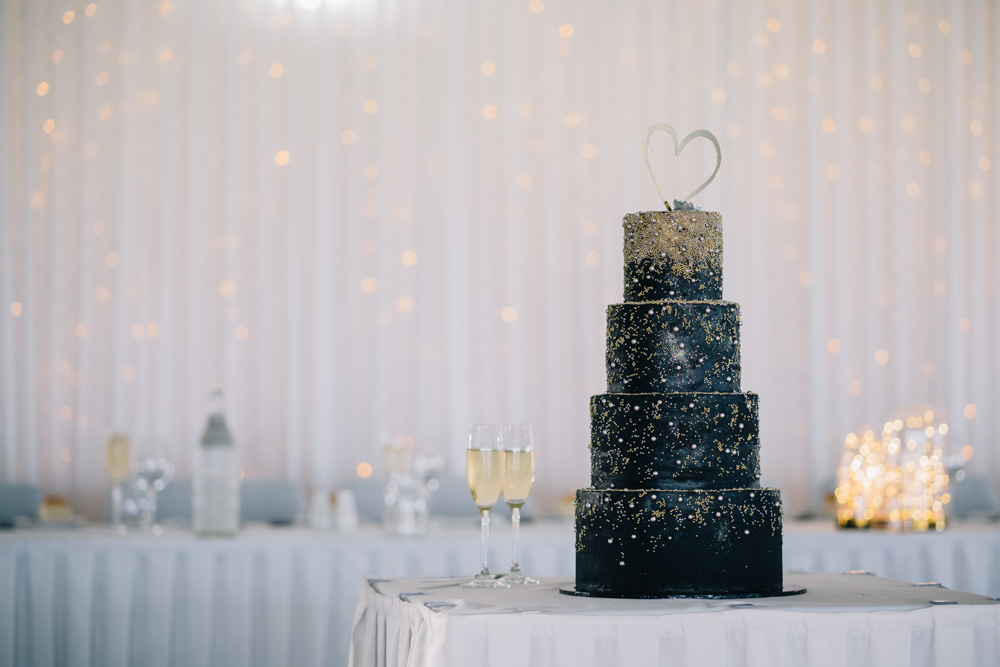 black colored wedding cake