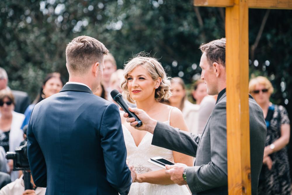 bride exchanging wedding vows
