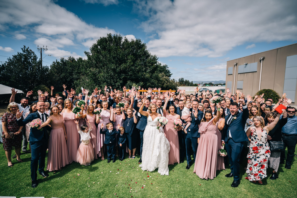 wedding party with bride and groom