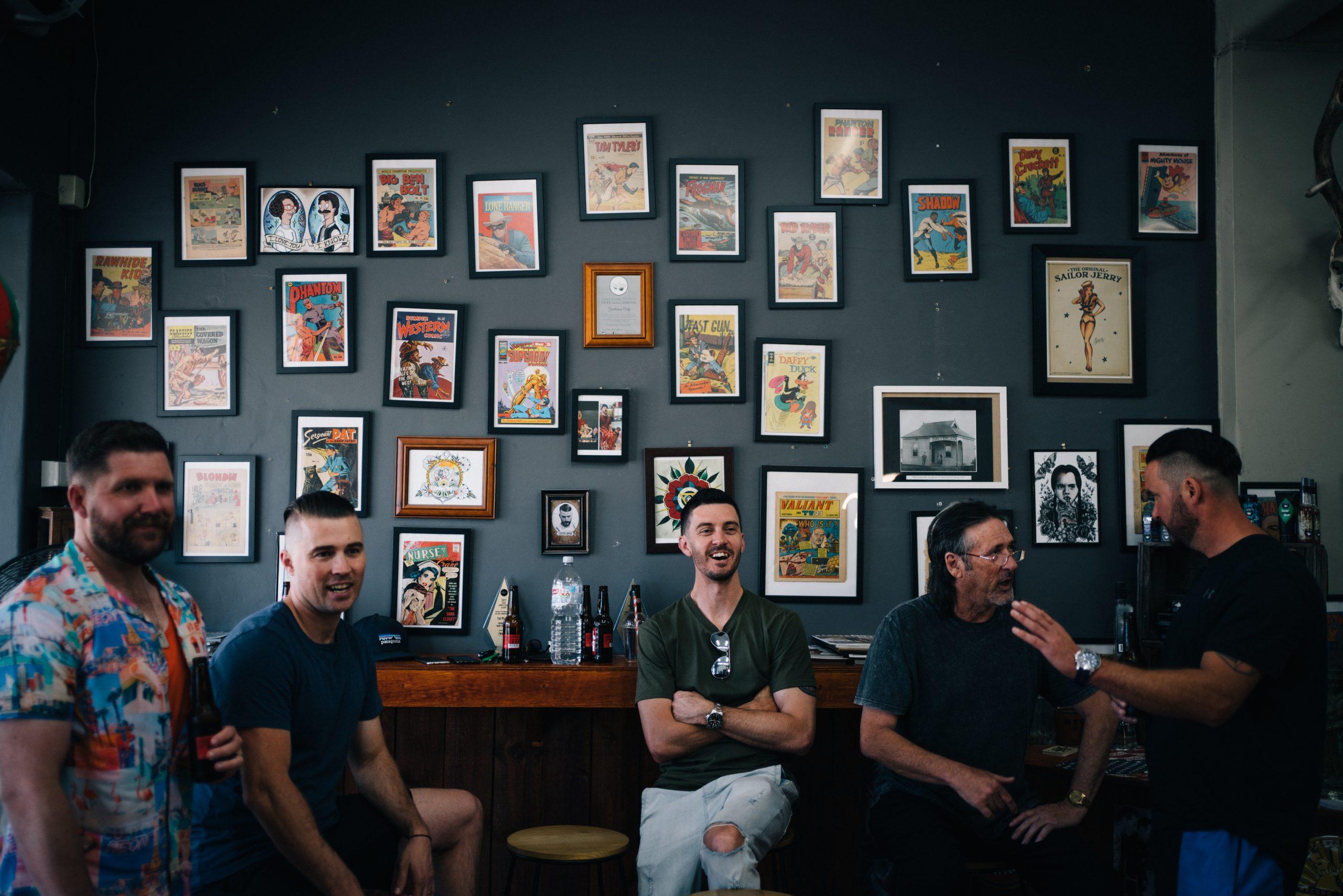 Groomsmen at barber shop