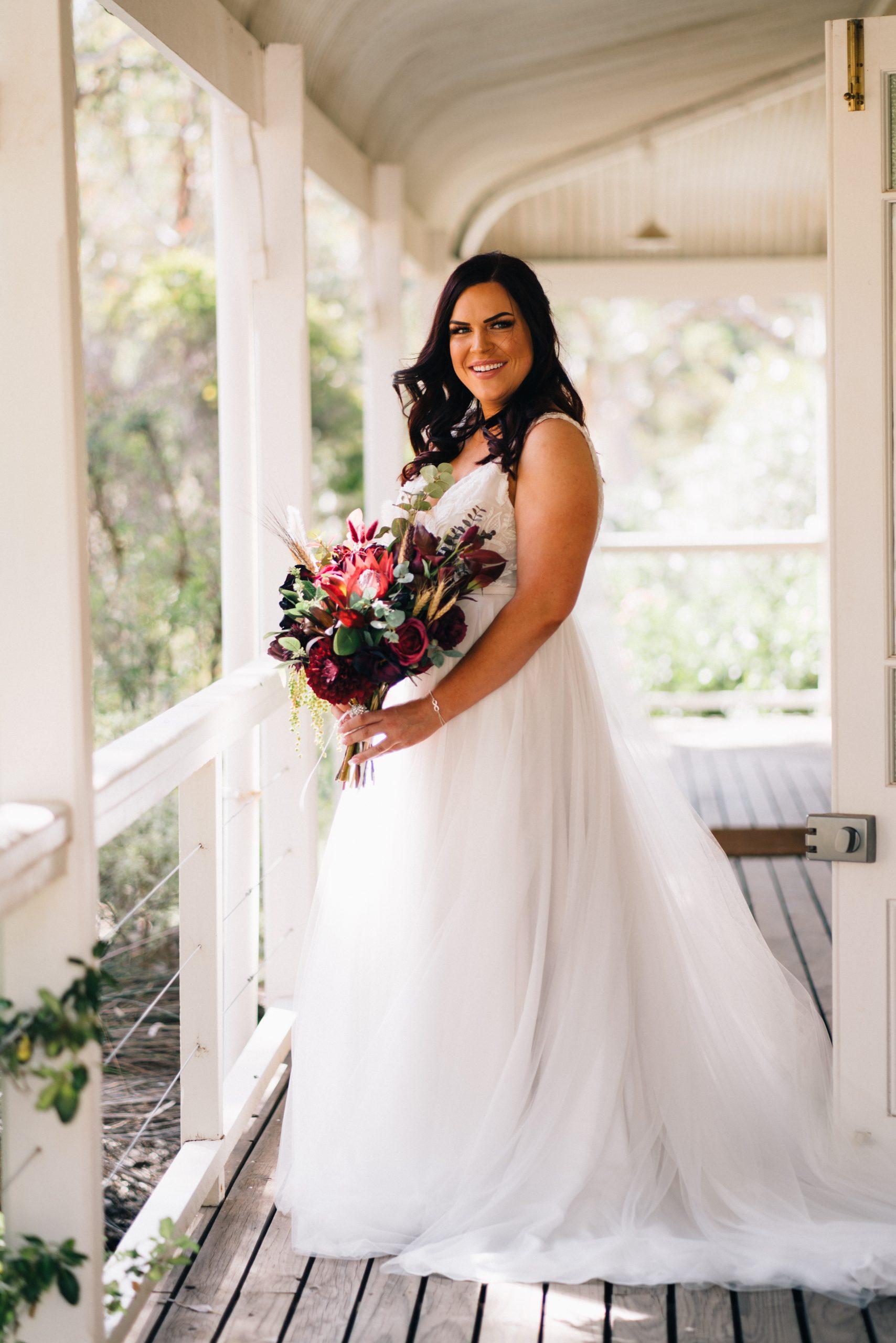bride on verandah before her wedding at brooklyn farm