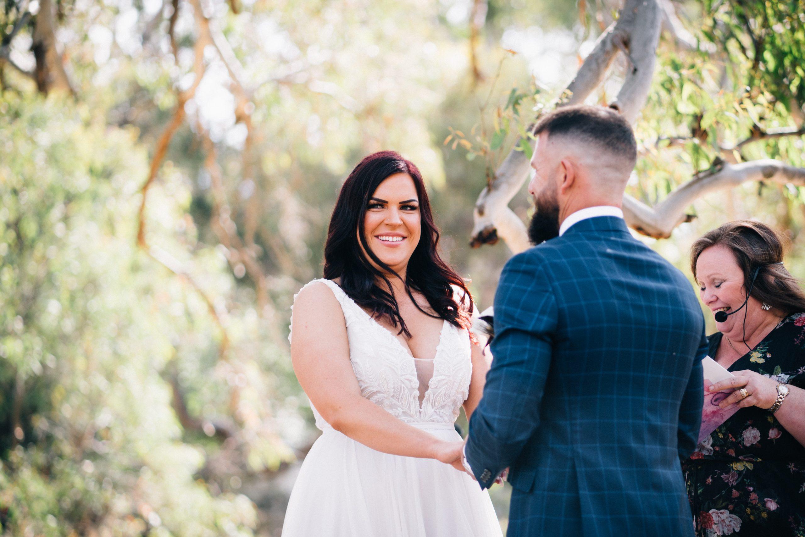 bride smiling at a wedding at brooklyn farm