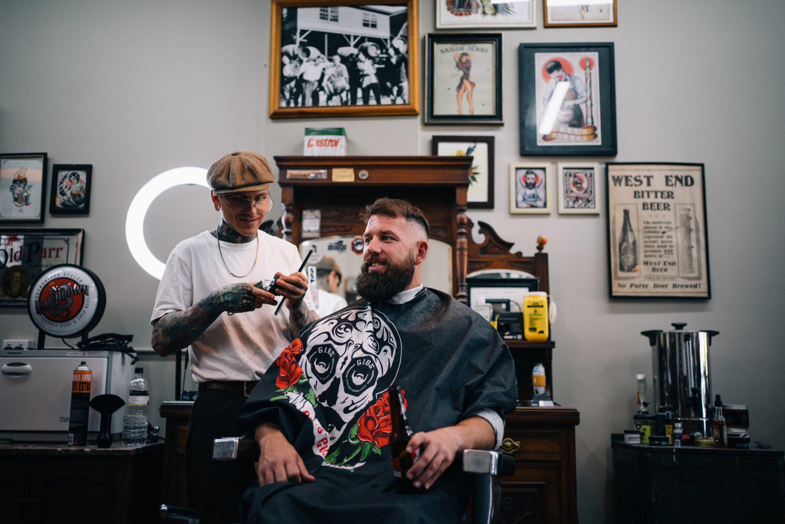 Groom at barber shop