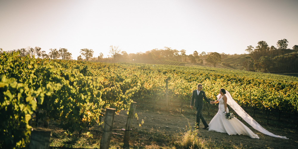 bride and groom at golding winery