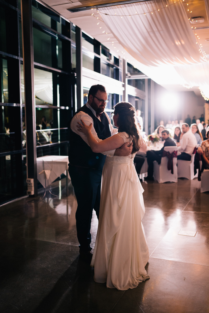bride and groom dancing at national wine centre