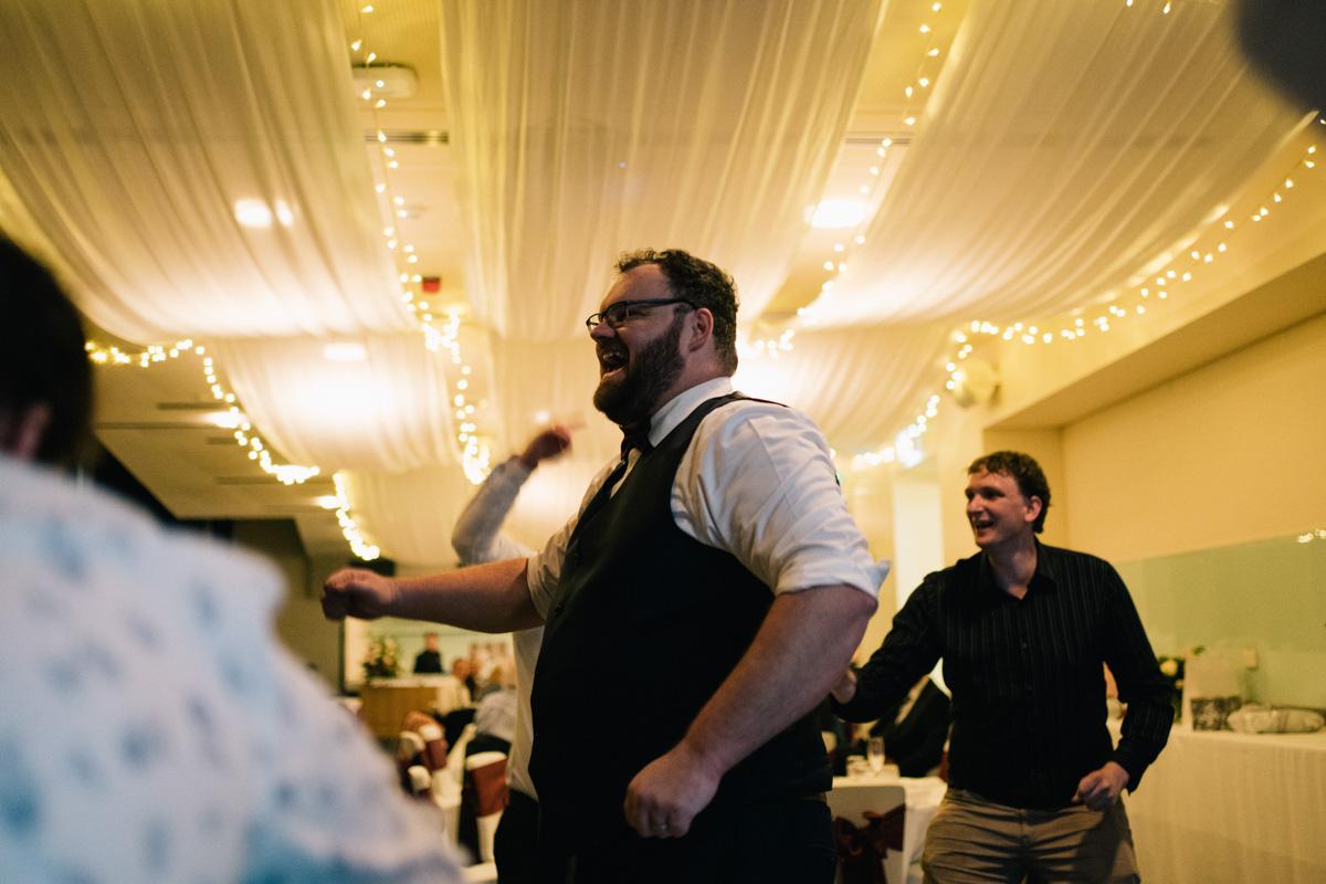 groom dancing at wine centre
