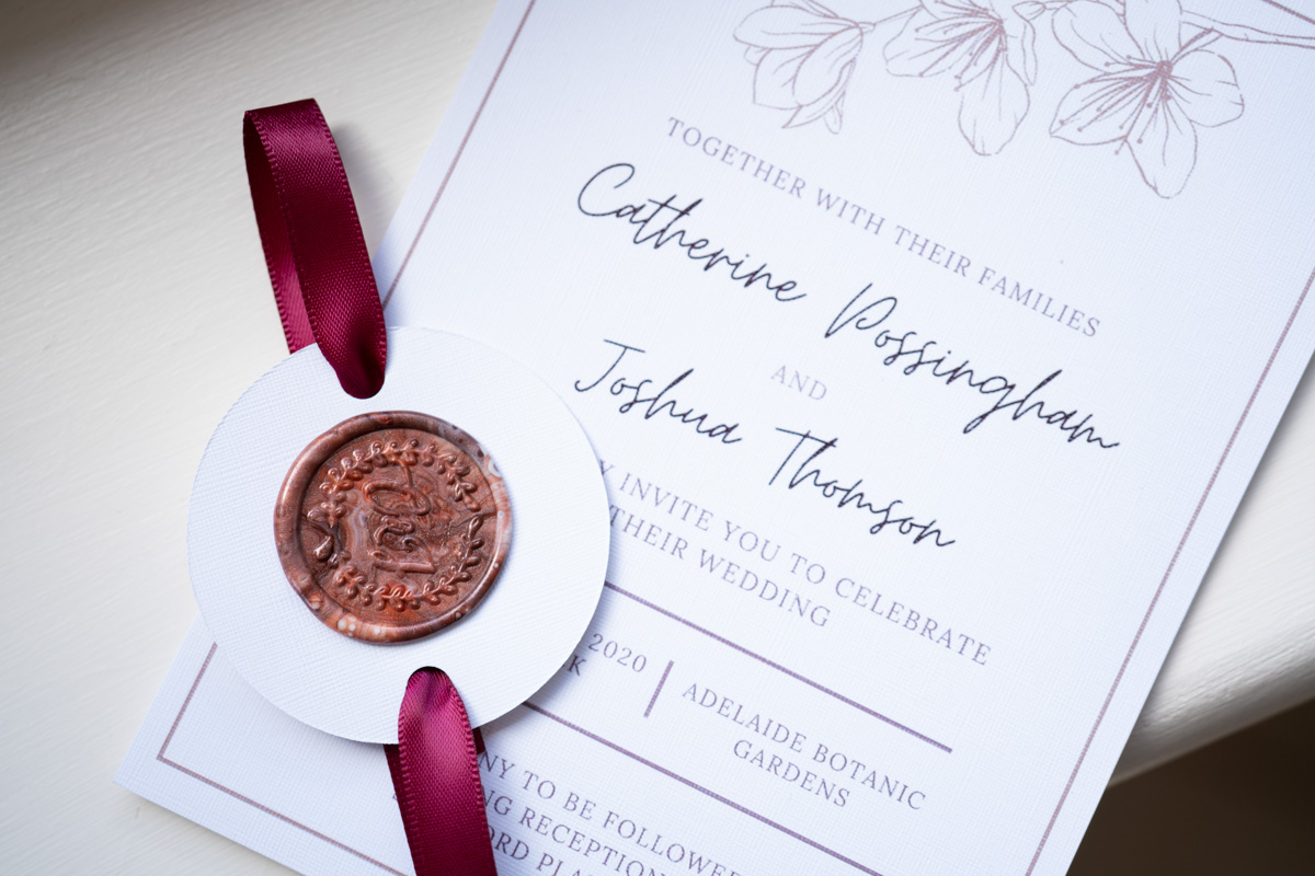 wedding invite with wax stamp for adelaide botanic gardens